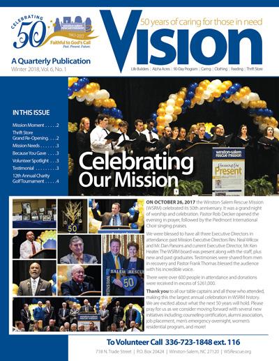 Winston-Salem Rescue Mission - Vision Newsletter